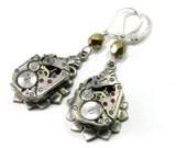 Steampunk Earrings Watch Wittnauer Movement 17 Jewel Bearings Clockwork on Silver Art Deco Teardrop with Gold Crystal
