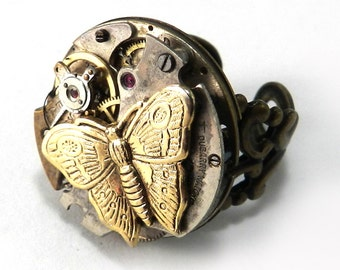 STEAMPUNK Ring - Clockwork Watch Movement Silver and Gold Butterfly on Brass Victorian Band