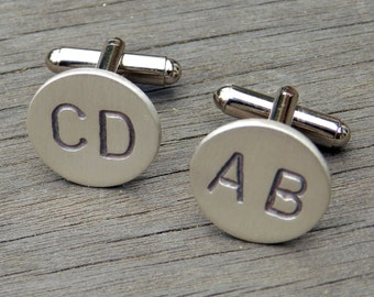 Custom Monogram Cuff Links, Sterling Silver Personalized Initial Hand-Stamped Cufflinks, Satin Finish, Any 2 LETTERS, WEDDING Groomsmen