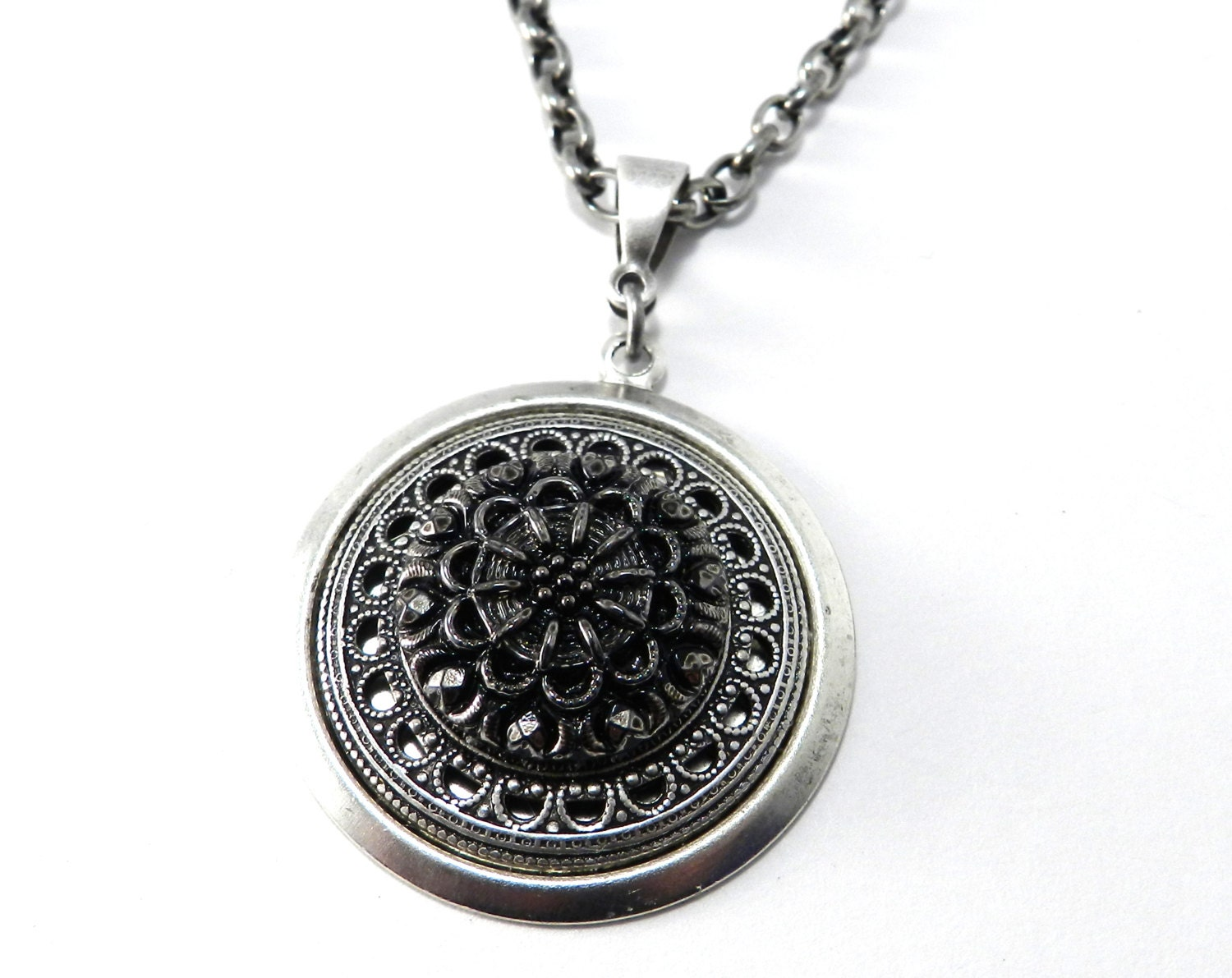 antique button necklace black silver by compassrosedesign