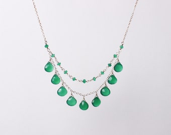 Green Onyx 2-Front Strands Necklace on Sterling Silver, Statement necklace, Kelly Green Stone Necklace, Lula Designs