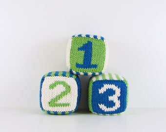 Set of Three Knitted Blocks- Blue, Green and White