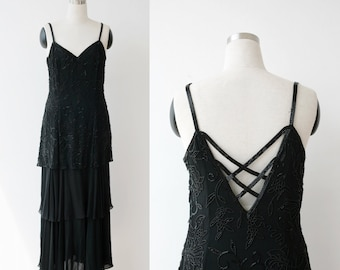 Black Tie Oleg Cassini Black Evening Dress Beaded Silk Dress sz Large 12, Formal Couture Gown L