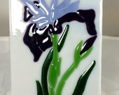 Fused Glass Purple & Lavender Flag Iris Flower Decorative Plate Handmade Original - Made in USA Active