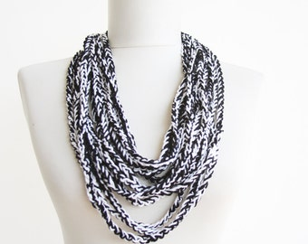 Crochet necklace black white vegan accessory scarf
