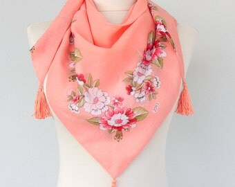 Coral pink scarf tassel scarf summer scarves for women cotton scarf unique gifts for her turkish scarves one of a kind floral scarf