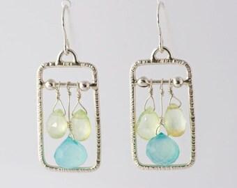 Prehnite and Apatite Briolette Sterling Silver Dangle Earrings, lightweight earrings