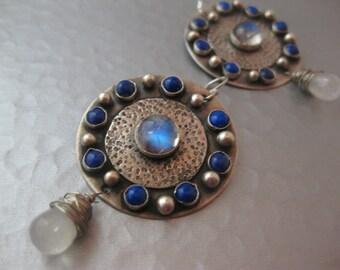 Large Sterling Silver Disk Moonstone Lapis Artisan Earrings