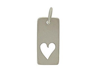 Silver Rectangular Heart Cutout Charm