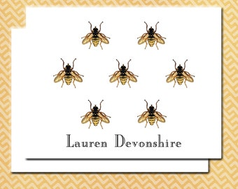 Honey Bee Notes Cards, Custom Personalized Cards, Blank Inside Set of Ten, Honey Bees, Made To Order Monogram Note Cards, Yellow and Black