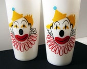 Two Hazel Atlas Milk Glass Painted Clown Drinking Cups Bright and Colorful