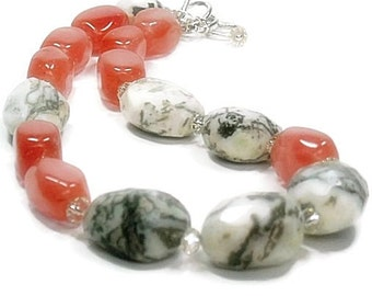 Strawberry Ice Necklace - Natural Howlite Nugget Necklace with Blush Watermelon Quartz - Chunky Statement Necklace - Gemstone Nugget Jewelry