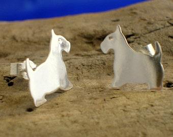 Silver Scottie Dog Studs, Sterling Silver Scottie Dog Studs, Silver Studs, Small Studs, Handmade, Terrier Studs, Dogs, Scottie Dog jewellery