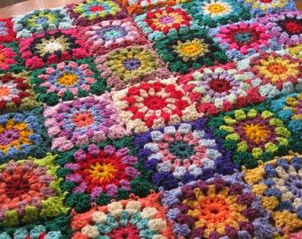 Crochet Flowers GRANNY SQUARES Afghan Blanket Sunburst