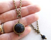 Full Moon Necklace Planet Pendant Black Lava Stone Necklace Essential Oil Diffuser Necklace Captain Nemo Boho Unisex Steampunk Bronze Chain