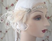 1920's rhinestone headpiece antique silver bridal beaded flapper headband with ivory peacock feathers- harriet- made to order