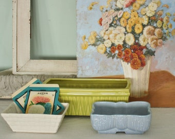 3 Vintage Pottery Window Box Planters