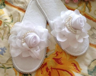 Redesigned terry slippers, bling bling slippers ,bridal slippers,wedding, bridal shower