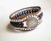 Gemstone Cuff Bracelet Lapis Bracelet Gemstone Bracelet Blue Bracelet Blue and Silver