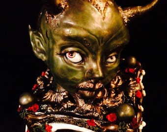 "OOAK Krampus inspired ""Old Scratch"" the devil handmade Music Box Reliquary of kiln fired ceramic clay and leather"