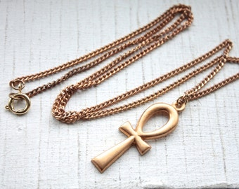 "Handmade Egyptian Ankh Necklace // Vintage 1950s 60's Brass Chain and Ankh Pendant // 24"" Necklace"