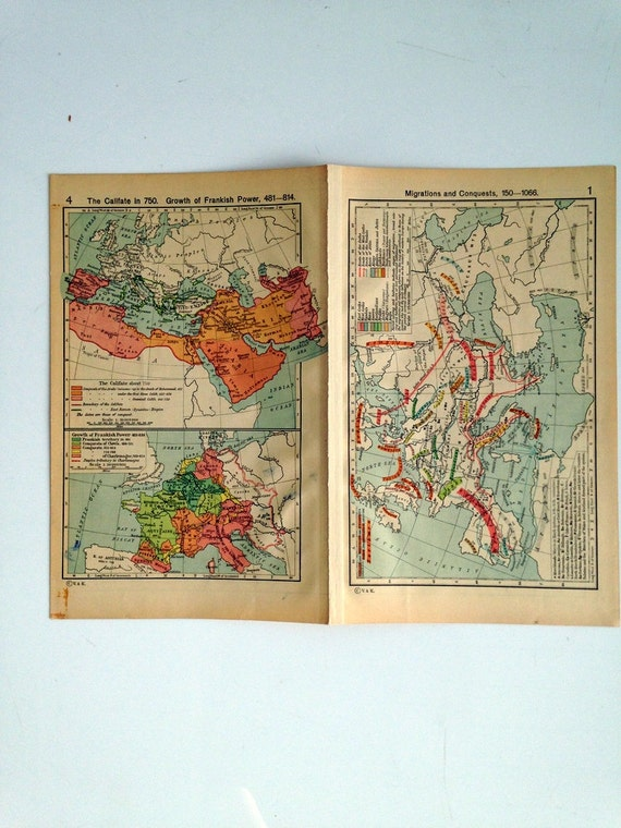 Double Sided Medieval Map - Europe and its expansion  - Migrations and Conquests