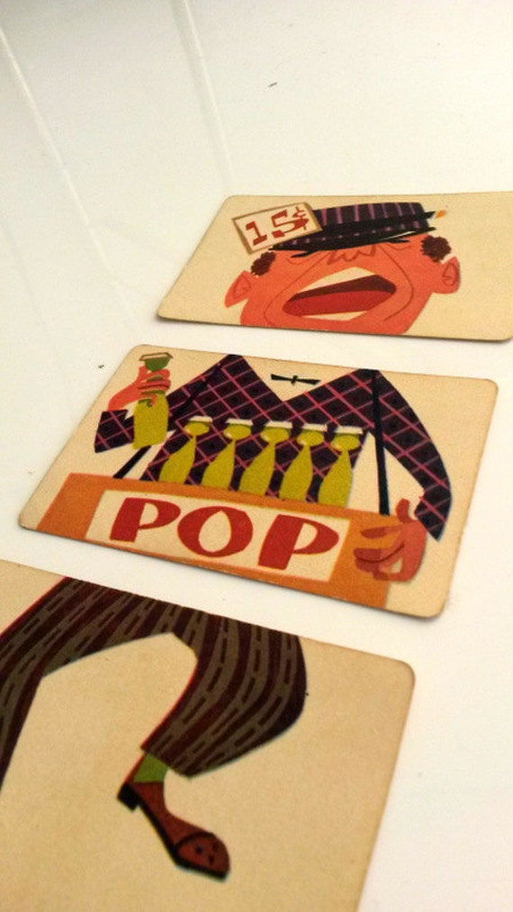 """c. 1950s 3 part flashcard - Circus soda """"Pop"""" seller - vintage picture cards"""