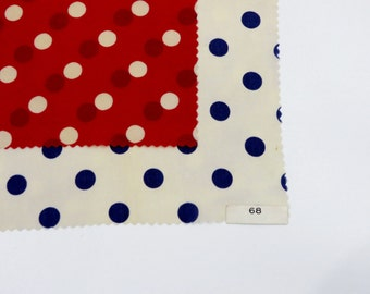 Vintage Fabric 1930s Fabric / Silk Fabric Sample Set / Polka Dot Fabric 1920s Dress Fabric / Red White Blue