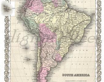 Vintage 1855 MAP of SOUTH AMERICA -  Instant Download Digital Printable- Argentina,Chile,Brazil, Bolivia, Equador,Peru Ptintable Map 2 sizes