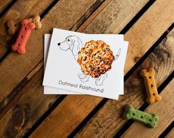 Dog Treats Notecard - Oatmeal Raishound (basset hound, dog notecards, dog stationery, blank interior for thank you, thinking of you, friend)