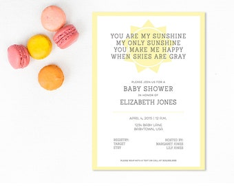 Sunshine Baby Shower - Customizable Baby Shower Invite