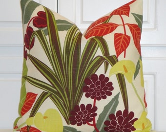 Decorative Pillow Cover -  Accent Pillow - Tropical Pillow - Plum - Green - floral and Leaf Pillow