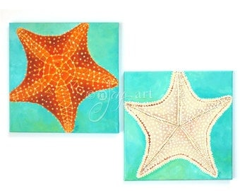 Starfish Pair, Set of 2 12x12 acrylic star fish paintings, tropical beach themed art