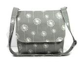 Small Messenger Bag for Women, Gray Cross Body Bag, Gray Dandelion Purse, Gray White Pocketbook, Fabric Crossbody Purse, Shoulder Bag