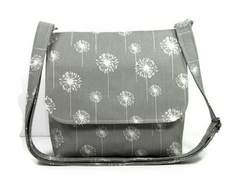Small Messenger Bag for Women, Gray Cross Body Bag, Gray Dandelion Purse, Gray White Pocketbook, Fabric Crossbody Purse, Shoulder Bag