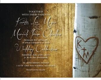 Rustic Wedding Invitation and RSVP Postcard