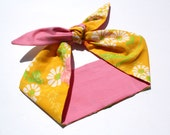 Vintage Inspired Headscarf, Head Wrap, Vintage fabric, Pink with Yellow Floral, Hippie, Boho