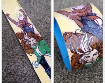 X-Ladies Storm and Rogue - hand painted comic book style cuff bracelet