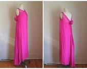 vintage 1960s cocktail dress - BELLA ROSELLA fuchsia silk chiffon dress / S