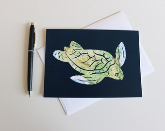 Turtle Down Under - Map Art Greeting Card - 5x7 Stationary -  Australia Great Barrier Reef