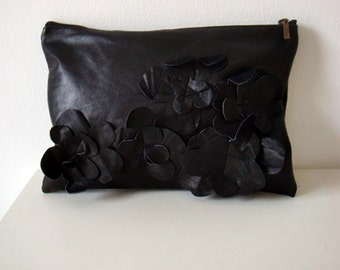 Black Leather Clutch Purse, Real Leather Bag, Leather Clutch with Flower Embellishments, Genuine Leather Purse