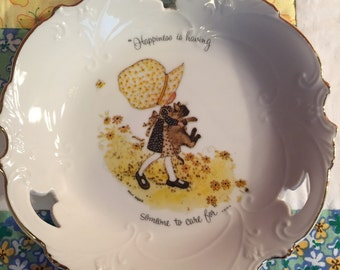 "Vintage Holly Hobbie Trinket Tray or Plate ""Happiness Is Having Someone To Care For"" Made in Japan #2114"