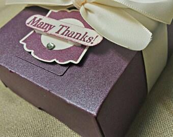 Thank You Favor Box - 3x3 Favor Box -- Plum Favors -- Chocolate Box