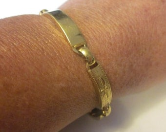 Your Name Here - Vintage Gold Tone ID Bracelet