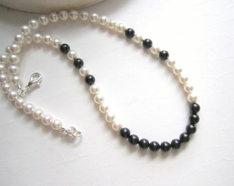 Pearl Necklace Handmade Beaded Choker Necklace  Black and White Swarovski Pearls