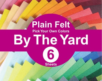 6 YARDS Plain Felt Fabric - pick your own colors (A1y)