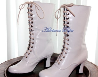White Victorian boots Wedding Boots Ankle shoes Victorian Boots Bride shoes  White high heels Ankle boots  Custom boots