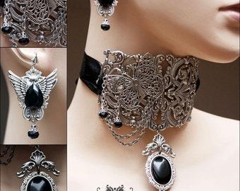 Victorian Filigree Tall neck Corset Fantasy Gothic choker black stone silver pendant