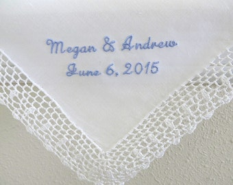 Wedding Handkerchief, Bride and Groom's Names and Date