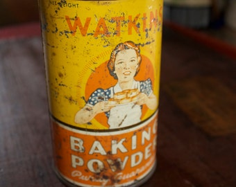 Antique Watkins Baking Powder Tin, Vintage Kitchen Advertising Baking Collectible, Kitchen Decor Cooking Collectible, Art & Collectible